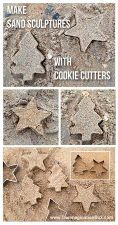 Building mini sand sculptures with cookie cutters. We actually made these on Christmas Day last year, all wrapped up on a solitary beach in the beautiful northeast of England. Eyfs Activities, Creative Activities, Activities For Kids, Sand Crafts, Beach Crafts, Sharing A Shell, Boredom Busters For Kids, Sand Tray, Summer Boredom
