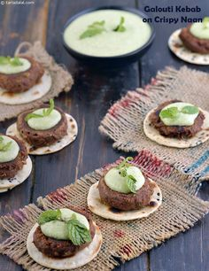 Galouti Kebab On Crispy Naan recipe Indian Appetizers, Indian Snacks, Indian Food Recipes, Vegetarian Recipes, Vegetarian Appetizers, Healthy Recipes, Delicious Recipes, Healthy Food, Healthy Eating