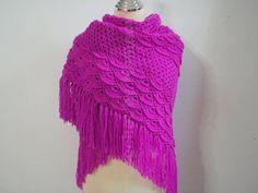 Fuschia Pink shawl with fringe by Namaoy on Etsy, $58.00