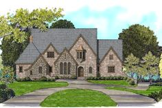 Tudor Style House Plan - 4 Beds 4.5 Baths 4412 Sq/Ft Plan #413-890 Exterior - Front Elevation - Houseplans.com