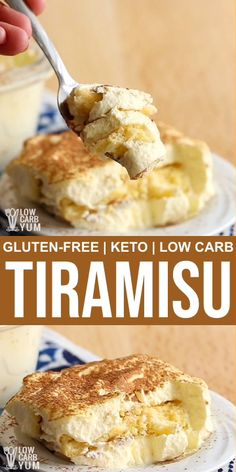 You don't have to miss your favorite Tiramisu with this delicious low carb and gluten-free Tiramisu version. The cake layer is made with almond flour and sweetened with low carb sweeteners. l Keto dessert Ketogenic Desserts, Keto Friendly Desserts, Keto Snacks, Ketogenic Foods, Easy Snacks, Low Carb Sweets, Low Carb Desserts, Keto Recipes, Dessert Recipes
