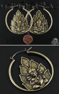 Ganesha hoop earrings