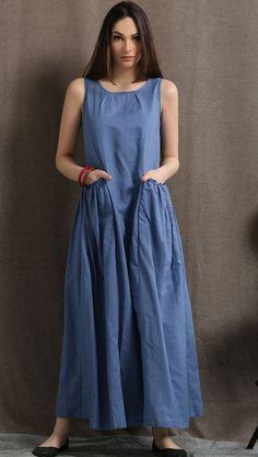Maxi Linen Dress - Blue Long Casual Comfortable Sleeveless Women's Summer Dress with 2 Large Pockets Wedding Dress With Pockets, Maxi Dress With Sleeves, The Dress, Dress Pockets, Linen Dresses, Blue Dresses, Casual Dresses, Fashion Dresses, Fashion 2017