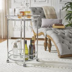 Metropolitan Round Chrome Metal Mobile Bar Cart with Glass Top by INSPIRE Q | Overstock.com Shopping - The Best Deals on Bars