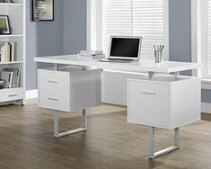 """awesome COMPUTER DESK - 60""""L SILVER METAL"""