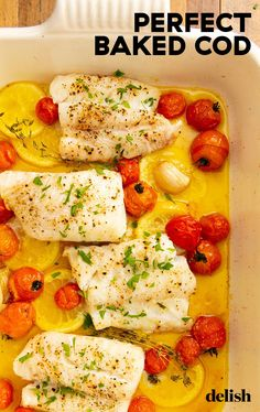 Perfect Baked Cod If you're someone who's afraid of cooking seafood at home, cod is the fish for you. Cod Recipes Oven, Baked Salmon Recipes, Seafood Recipes, Cooking Recipes, Healthy Fish Recipes, Cod Fillet Recipes, Best Cod Recipes, Meat Recipes, Chicken Recipes