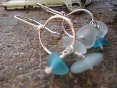 Icy Mix  Sterling Silver Earrings with blue 'sea' by StonePeace