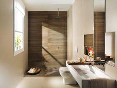 Modernes Badezimmer Fliesen Fap Ceramiche Beige Braun Holz Optik Dusche Idea