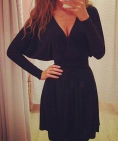 V-neck Backless Long Batwing Sleeve Short Dress