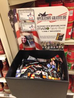 Spotted today at a Fort Bragg, N.C. commissary! THANK YOU, Mario Olives & Specialty Foods, for your generous support of the troops! They love receiving your snack olives in our Operation Gratitude care packages!