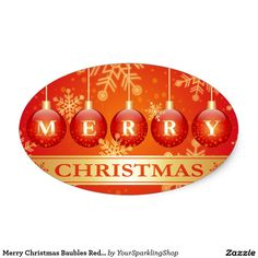 Merry Christmas Baubles Red Gold Sticker
