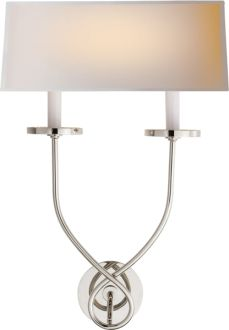 "SYMMETRIC TWIST SCONCE Height: 20"" Width: 13 1/2"" Extension: 6 3/4"" $420 Backplate: 4 1/2"" Round Shade Size: 13"" x 13 1/2"" x 5 1/4"" Wattage: 2 - 60 Watt Type B Socket: Candelabra"