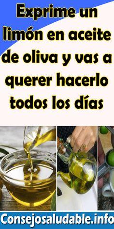 Exprime un limón en aceite de oliva y vas a querer hacerlo todos los días #remedios #consejos #hogar #salud #bienestar # Cucumber, Remedies, Personal Care, Gym, Health, Home, Health Tips, Healthy Recipes, Health Remedies