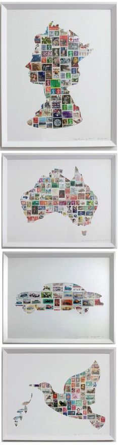 Postage stamp silhouettes craft-diy