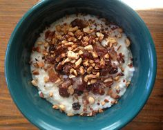 Kenda: A Sri Lankan style rice porridge that can be sweet or savory. This was simmered in coconut milk and topped with dried fruit and nuts. via www.JournalF.com #recipes #glutenfree #food