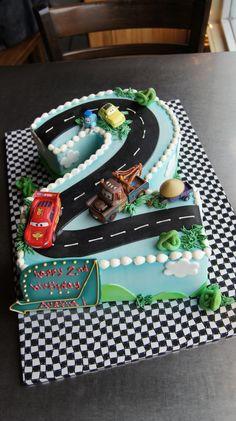 Number 2 shaped Pixar Cars birthday cake