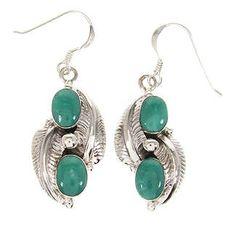 Turquoise Southwestern Leaf Earrings PS59449