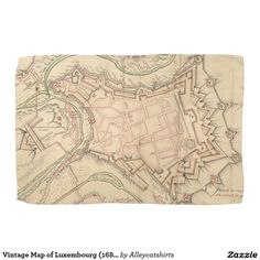 Vintage Map of Luxembourg (1686) Hand Towel