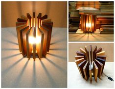 A lamp made from recycled wooden pieces recovered from a carpenter's workshop. It is composed of seventeen pieces of many …