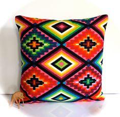 Mexican cushion mexican pillow multicolour cushion multicolor pillow rainbow cushion rainbow pillow geometric cushion geometric pillow. $29.95, via Etsy.