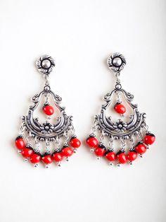 Chandelier Earrings with Huayruro Seed Beads