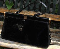 black vintage purse - 1940s or so