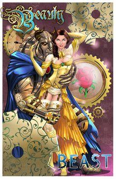 Steampunk Beauty and Beast | Lines by Sorah Shibao [©2014 SorahShibao] | Inks by Nicki Andrews [©2014 LahmiaRaven] | Color by Stéphan [©2014 nahp75]