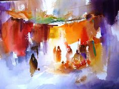 The Watercolour Log: Watercolour Painting 62 - a 2020 Special! Watercolor Architecture, Watercolor Landscape, Abstract Watercolor, Abstract Landscape, Watercolour Painting, Abstract Art, Watercolors, Watercolor Sketch, Watercolor Illustration