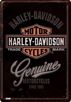 Harley Davidson Genuine : Plaque décorative rétro en métal représentant le sigle Harley Davidson. Idéal pour créer une décoration vintage dans un garage, un atelier, un bar, un pub ou même dans une concession moto.