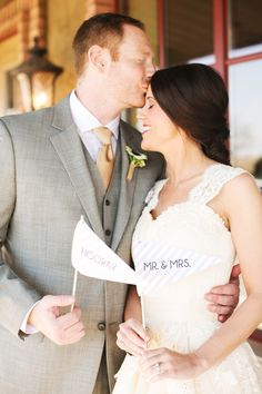 hooray + mr. & mrs. flags // photo by EE Photo // View more: http://ruffledblog.com/sweet-oklahoma-wedding/