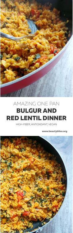 Very delicious, quick and easy healthy vegan dinner recipe - with red lentils, bulgur and vegetables. Use whatever is in season, done in about 30 min, you'll need only one large pan to make this delicious clean eating dinner. Bulgur Recipes, Veggie Recipes, Vegetarian Recipes, Cooking Recipes, Healthy Recipes, Red Lentil Recipes, Lunch Recipes, Healthy Food, Clean Dinner Recipes