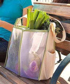 What a great idea, separates produce and eliminates need for all of those plastic bags! Beige Mercado Bag #zulilyfinds