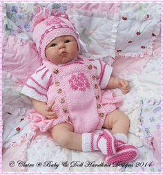 "Frilled Rose Motif Romper Set 16-22"" doll (preemie-3m+ baby)-knitting pattern, reborn, doll, baby, romper, babydoll handknit designs"
