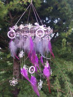 Purple Large Dreamcatcher Mobile Baby Dream by DreamyFlowerWonder