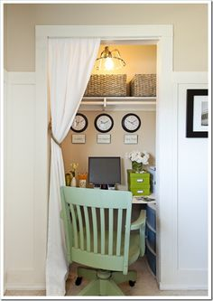 The Old Painted Cottage {The Blog}: Small Space Organizing - before and after of a small closet, turned into a functional work space area
