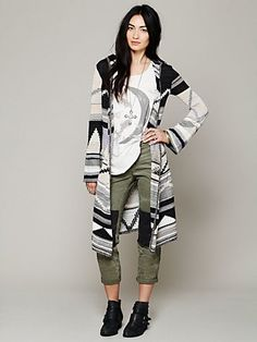 Free People Long Pattern Hooded Cardigan at Free People Clothing Boutique