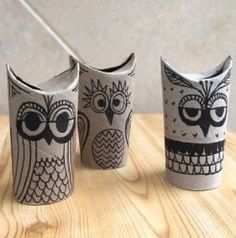 Owls made out of toilet paper tubes. Clever!!
