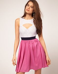 love this cut-out sweetheart neckline, and the 2-tone dress!