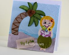 My granddaughter's 7th birthday was a tropical theme so I made a little girl with a grass skirt on for the occasion.