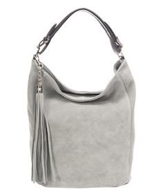 Another great find on #zulily! Light Gray Tassel Leather Hobo #zulilyfinds