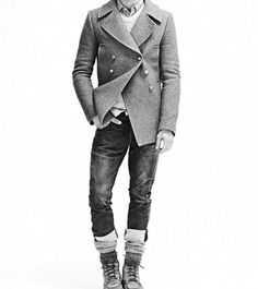 manteau - great outfit. Men's style, clean cut jacket, big socks, boots.