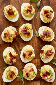 If you're spending this year at a Friendsgiving celebration, then this easy recipe is just what you've been looking for. This Thanksgiving, try this deviled egg recipe as an appetizer for your guests. This easy recipe calls for large eggs, unsalted butter, a small shallot, bacon, Dijon mustard, kosher salt and ground pepper.