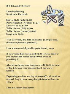 Portland laundry service ..for future use