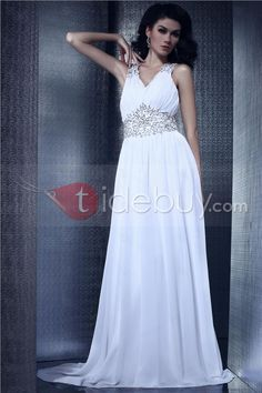 Glamorous A-Line V-Neck Appliques Floor-Length Olga's Evening Dress