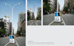#Marketing de Guerrilha – APPLE  Ação conceitual que transformou postes em fones de ouvido para iPod…    …Genial!