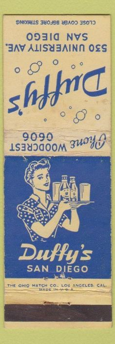 Duffy's San Diego #matchbook cover To design & order your business' own #matches GoTo GetMatches.com