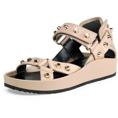 23475f1c93b9 Balenciaga Studded Leather Flat Sandal ( 630) ❤ liked on Polyvore featuring  shoes