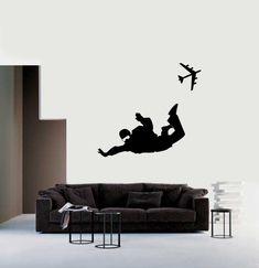 Parachute Jumpers Landing Skydivers Gliding in the Air Vinyl Wall Parachuter Wall Decal Parachutist Sticker