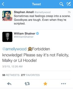 """""""When William Shatner speaks to the whole fandom. HE IS ONE OF US!"""" #arrow"""