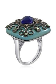 Filigree Blue Mother of Pearl Square Ring.